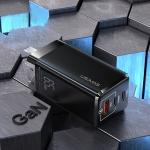 USAMS US-CC111 T33 65W GaN Mini Fast Charging Travel Charger Power Adapter, CN Plug (Black)