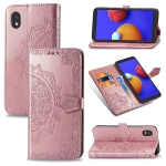 For Galaxy A1 Core Mandala Flower Embossed Horizontal Flip Leather Case with Bracket / Card Slot / Wallet / Lanyard(Rose Gold)