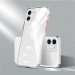 For iPhone 12  Color Button Clear Full Coverage Shockproof TPU Case(Transparent+Red)