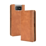 For Asus Zenfone 7 ZS670KS/Zenfone 7 Pro ZS671KS Magnetic Buckle Retro Crazy Horse Texture Horizontal Flip Leather Case  , with Holder & Card Slots & Photo Frame(Brown)