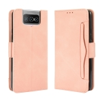 For Asus Zenfone 7 ZS670KS/Zenfone 7 Pro ZS671KS Wallet Style Skin Feel Calf Pattern Leather Case ,with Separate Card Slot(Pink)