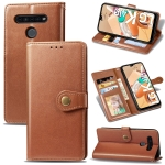 For LG K41S Retro Solid Color Leather Buckle Phone Case with Lanyard & Photo Frame & Card Slot & Wallet & Stand Function(Brown)