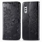For LG Velvet 5G Mandala Flower Embossed Horizontal Flip Leather Case with Bracket / Card Slot / Wallet / Lanyard(Black)