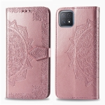 For OPPO A52 5G Mandala Flower Embossed Horizontal Flip Leather Case with Bracket / Card Slot / Wallet / Lanyard(Rose Gold)