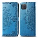 For OPPO A92S Mandala Flower Embossed Horizontal Flip Leather Case with Bracket / Card Slot / Wallet / Lanyard(Blue)