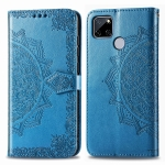 For OPPO Realme C12 Mandala Flower Embossed Horizontal Flip Leather Case with Bracket / Card Slot / Wallet / Lanyard(Blue)