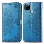 For OPPO Realme C12 Mandala Flower Embossed Horizontal Flip Leather Case with Bracket / Card Slot / Wallet / Lanyard(Blue)
