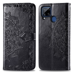 For OPPO Realme C15 Mandala Flower Embossed Horizontal Flip Leather Case with Bracket / Card Slot / Wallet / Lanyard(Black)
