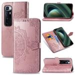 For Samsung Galaxy M31s Mandala Flower Embossed Horizontal Flip Leather Case with Bracket / Card Slot / Wallet / Lanyard(Rose Gold)