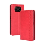 For Xiaomi Poco X3 NFC Magnetic Buckle Retro Crazy Horse Texture Horizontal Flip Leather Case with Holder & Card Slots & Photo Frame(Red)