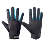 HSLEJP Outdoor Sports Breathable Touch Screen Antiskid Cycling Full Finger Gloves, Size: M(Black+Blue)