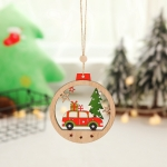 5 PCS Christmas Tree Wooden Round Pendant Car Christmas Ornaments(B Gift Car)
