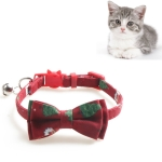 4 PCS Christmas Snowman & Tree Pattern Pet Collar with Bells, Style:With Bow(Red)