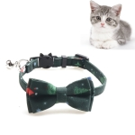 4 PCS Christmas Snowman & Tree Pattern Pet Collar with Bells, Style:With Bow(Green)