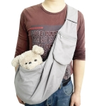 Pet Carrying Rucksack Shoulder Strap Adjustable Pet Outing Diagonal Bag(Gray)