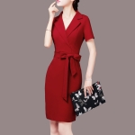 Temperament Ladies Skirt Plus Size Women Dress Ladies Slim Dress Professional Skirt, Size: XXXXL(Red Short Sleeve)
