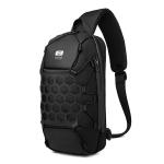 Ozuko 9358 Oxford Cloth Anti-theft Chest Bag Sports Waterproof Men Shoulder Messenger Bag with External USB Charging Port(Black)