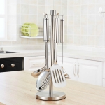Stainless Steel Kitchenware Storage Rack Hook Spatula Shelf