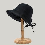 Back Bow Tie Fisherman Hat Summer All-Match Sunshade Tie Basin Hat, Colour: Black(Free Size)