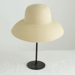 Big Eaves Straw Hat  Female Summer Sunscreen Basin Hat Beach Vacation Sunhat Fisherman Hat, Colour: Beige(M(56-58cm))