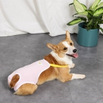 Pet Striped Suspenders Physiological Pants Anti-Harassment Safety and Health Pants, Size: L(Pink )