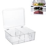 Food Storage Box Transparent Separated Fresh-Keeping Box Refrigerator Plastic Cold Storage Box, Style:Two-section Vertical