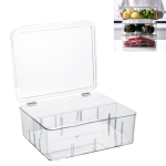 Food Storage Box Transparent Separated Fresh-Keeping Box Refrigerator Plastic Cold Storage Box, Style:Two-section Horizontal