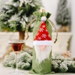6 PCS Christmas Decorations Forest Old Man Linen Wine Bottle Bag(Green)
