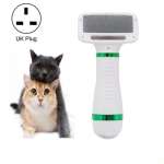 2 in 1 Pet Hair Dryer Comb for Dog and Cat Drying Hot Air Hair Removal Comb, Product specifications: UK Plug 220V(White Green)