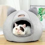 Winter Semi-Closed Warm & Velvet Round Pet Nest, Size:L 36x36x36cm