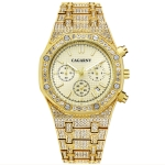CAGARNY 6881 Diamond-studded Six-needles Guartz Dual Movement Watch Men Stainless Steel Strap Watch (Gold Shell Gold Dial)
