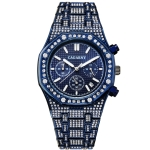 CAGARNY 6881 Diamond-studded Six-needles Guartz Dual Movement Watch Men Stainless Steel Strap Watch (Blue Shell Blue Dial)