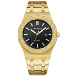CAGARNY 6885 Octagonal Dial Quartz Dual Movement Watch Men Stainless Steel Strap Watch (Gold Shell Black Dial)