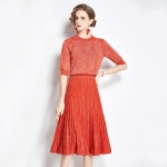 Early Autumn Bright Silk Knitted Simple Temperament Suit + Fashion Pleated Skirt Two-piece Suit (Color:Red Size:Freesize)