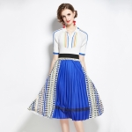 Autumn Fit All-match Sweater + Pleated Contrast Printing Skirt Two-piece Suit (Color:Blue Size:XXL)