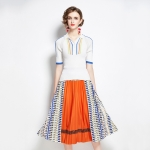 Autumn Fit All-match Sweater + Pleated Contrast Printing Skirt Two-piece Suit (Color:Orange Size:S)