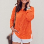 Autumn And Winter Pullover Round Neck Loose Sweater (Color:Orange Size:S)