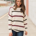 Autumn And Winter Fashion All-match Round Neck Striped Sweater Comfortable Pullover Sweater (Color:Stripe Size:S)