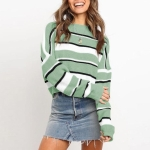 Autumn And Winter All-match Round Neck Comfortable Sweater, Striped Slim Knit Sweater (Color:Light Green Size:S)