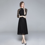 Early Autumn Fashion Slim Long Sleeve Dress (Color:Black Size:S)