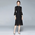 Early Autumn Temperament Lace Lotus Leaf Sleeve Dress (Color:Black Size:XXL)