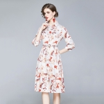 Fashion Lapel Printed Long Waist Dress (Color:Decor Size:XXL)