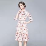 Fashion Lapel Printed Long Waist Dress (Color:Decor Size:XXL)