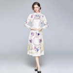 Fashion Waist Lapel Print Long Sleeve Dress (Color:Decor Size:XL)