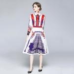 Fashion Slim Lapel Printed Long Sleeve Dress (Color:Decor Size:XL)