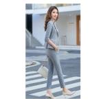 Simple Fashion Suit + Slim Trousers Two-piece Suit (Color:Gray Size:XL)