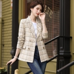 Lattice Texture Fashion Casual Suit (Color:Apricot Size:S)