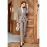 Fashion Casual Suit, Style: Coat + Pants (Color:Brown Size:XL)