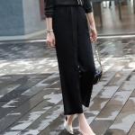 Business Wear Casual Suit Pants Wide Leg Pants (Color:Black Size:S)