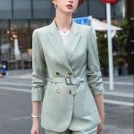 Business Wear Fashion Casual Suit Work Clothes Suit, Style: Coat + Pants (Color:Green Size:XXXL)